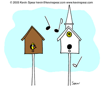 Cartoon of birdhouse and birdhouse-church
