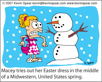 Cartoon of girl with Easter dress in a snowstorm