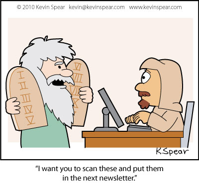 Cartoon of Moses and the Ten Commandments with office worker