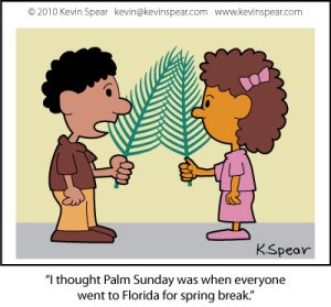 Cartoon of two children with palm branches