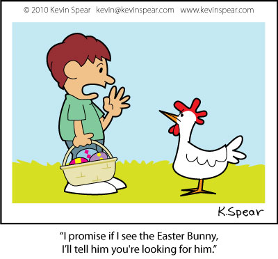 Cartoon of a boy with an Easter basket and a chicken