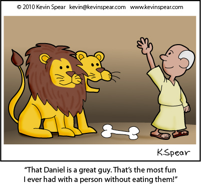 Cartoon of Daniel in the Lions' Den
