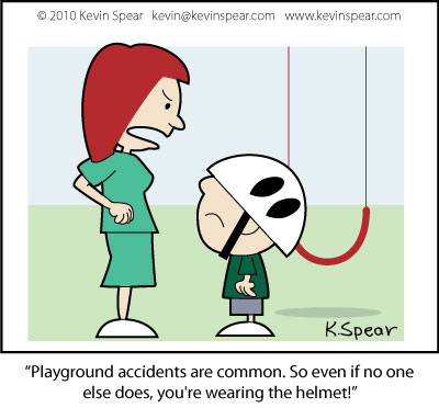 Cartoon of mom and son on a playground
