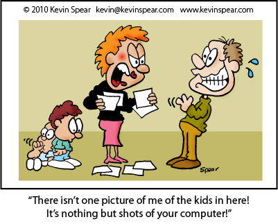 Cartoon of a Mom looking at photos