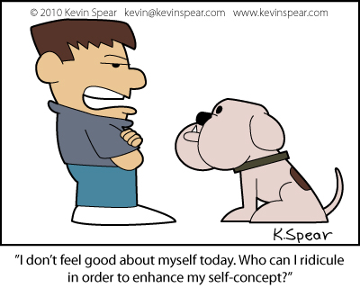 Cartoon of a bully and his dog