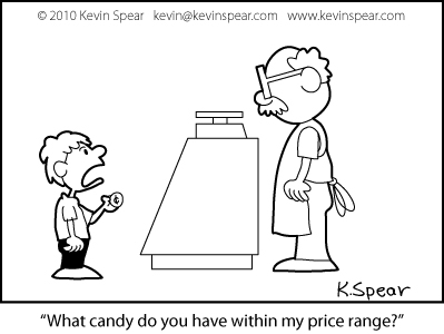 Cartoon of a boy in a candy store