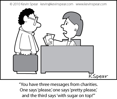Cartoon of a business man and a receptionist