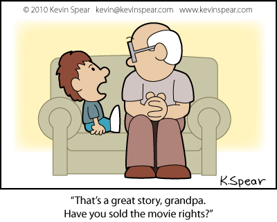 Cartoon of a boy and grandfather