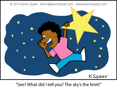 Cartoon of a girl hanging onto a star