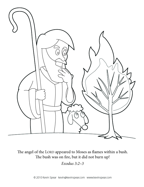Coloring Page Moses and the Burning Bush  Kevin H Spear