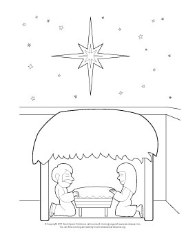 Coloring page of a Christmas nativity scene