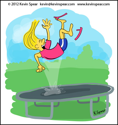 Illustration of a girl bouncing on a trampoline