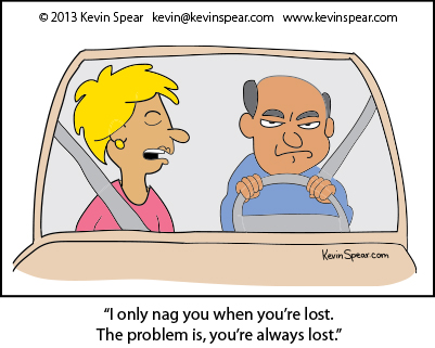 Cartoon of a couple in an automobile