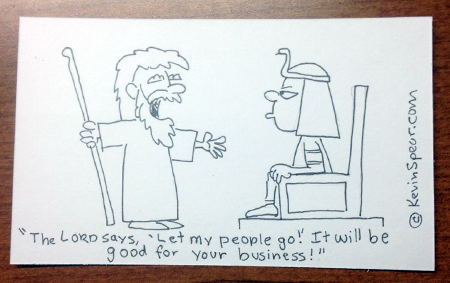 Cartoon of Moses confronting Pharaoh