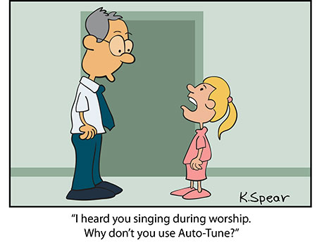 Cartoon of a girl asking her teacher why doesn't he use auto-tune