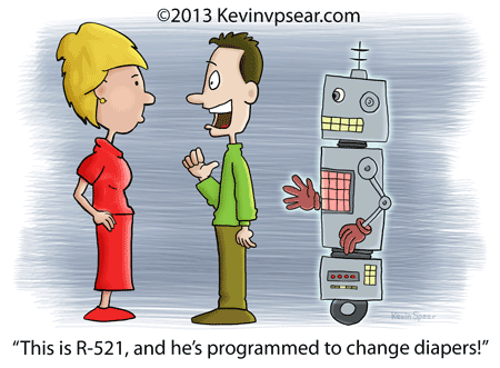 Cartoon of a man introducing a robot