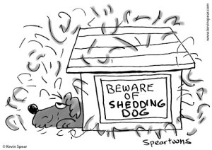 "Cartoon of a dog moping in its doghouse. a sign says, ""Beware of shedding dog."""