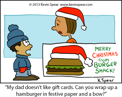 Christmas cartoon of a boy at a fast food restaurant