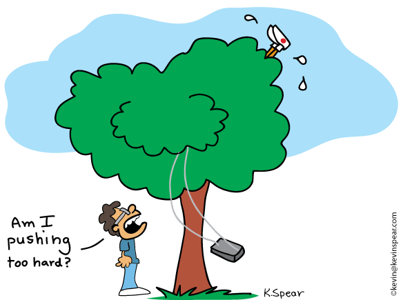 "Cartoon of someone stuck in a tree. A swing is moving. A guy below shouts, ""Am I pushing too hard?"""