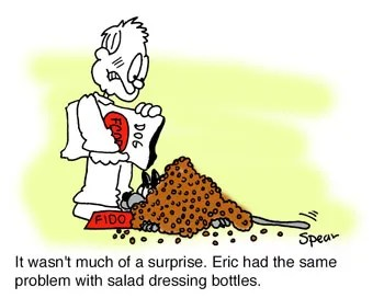 Cartoon of a guy embarrassed because he buried his dog in dog food. The caption says,