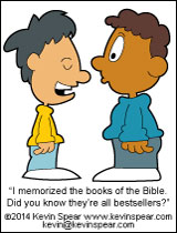 Cartoon of a boy bragging he knows all the books of the Bible