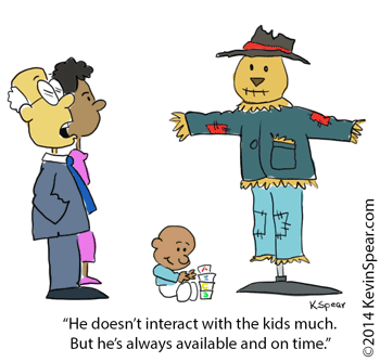Cartoon of a baby, two adults and a scarecrow