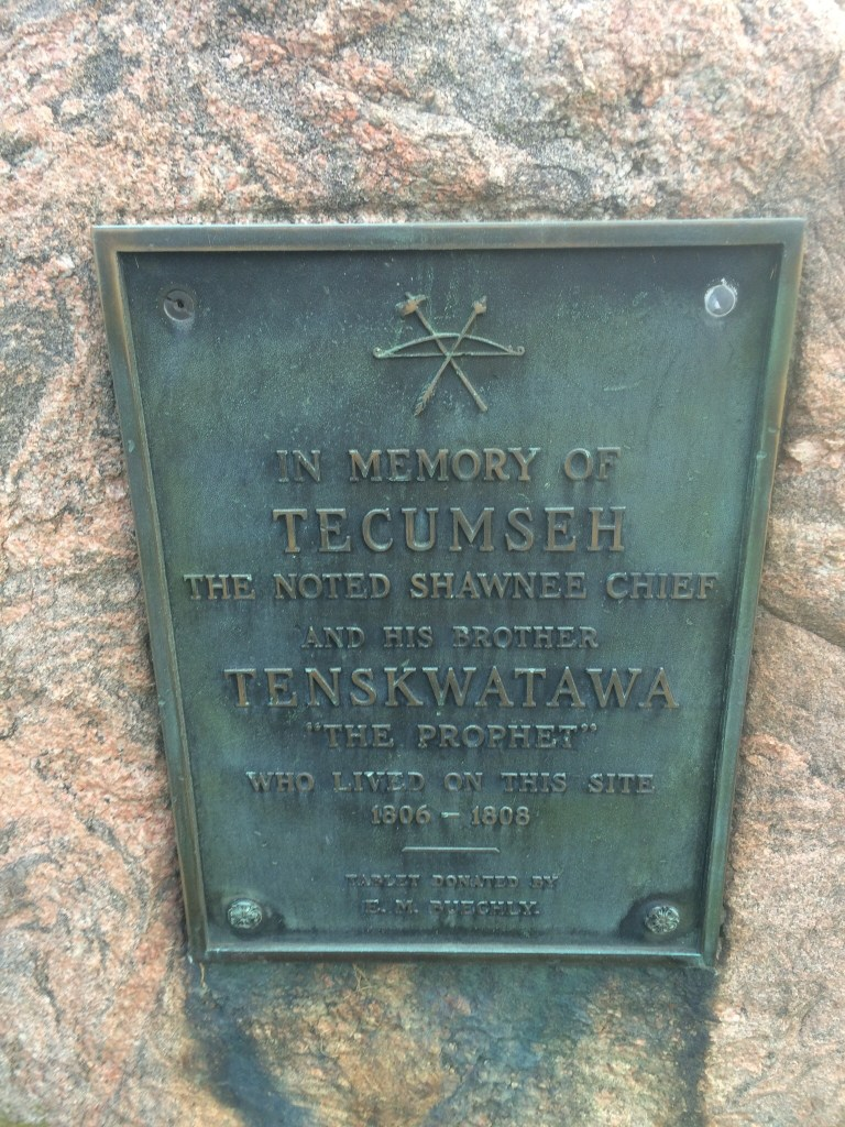 Marker in Greenville, Ohio for Tecumseh and Tenskwatawa