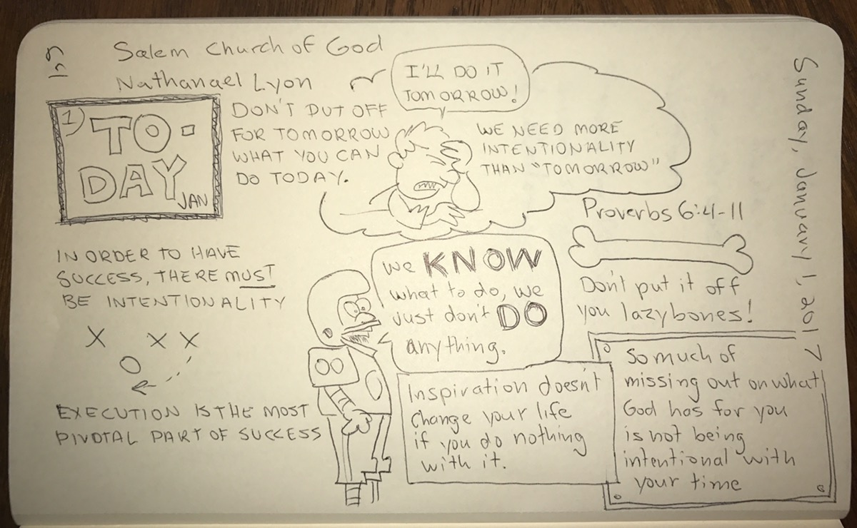 Sermon notes based on Proverbs 6:4-11, page 1