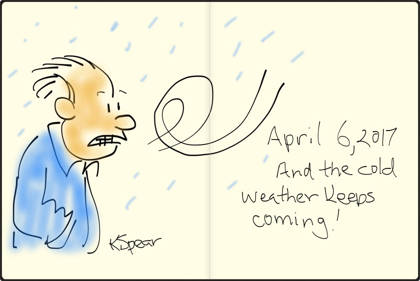 Sketch of a windy, cold day on April 6, 2017