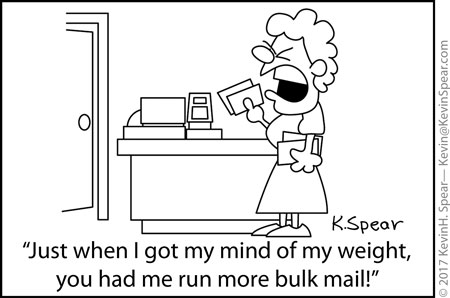 Cartoon of a woman upset over a bulk mail comment
