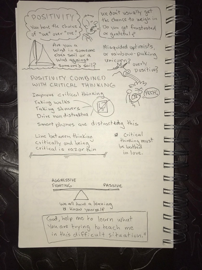 "Page 2 of sketch notes on ""How to Lead When You're Not in Charge,"" by Clay Scroggins"