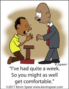 "Cartoon of a man kneeling at an altar. He says to a pastor, ""I've had quite a week. So you might as well get comfortable."""