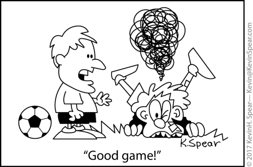 "Cartoon of two soccer players. One is beaten up. The other holds out his hand and says, ""Good game!"""