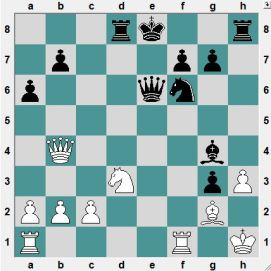 Black has a strong attack, but at the cost of not castling himself. If now 22...Bxh3(?) 23.Rae1! wins. From the above position, how does Black play and CRUSH?