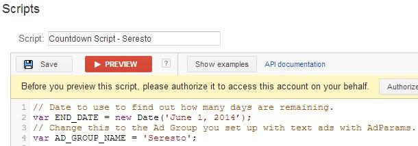 Google Adwords Count Down Script