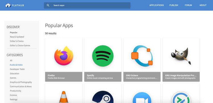 Screenshot van de Flatpak-website