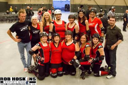 The Jaw Breakers after their June 15th win against Prince Albert Roller Derby