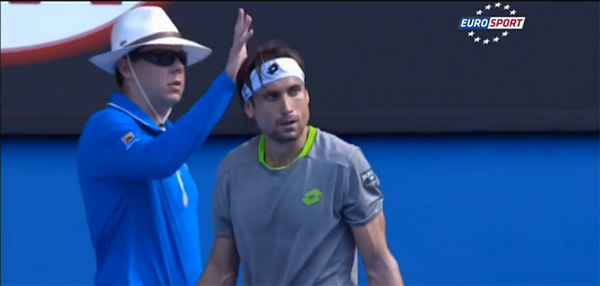 David Ferrer in front of the AO official he pushed.