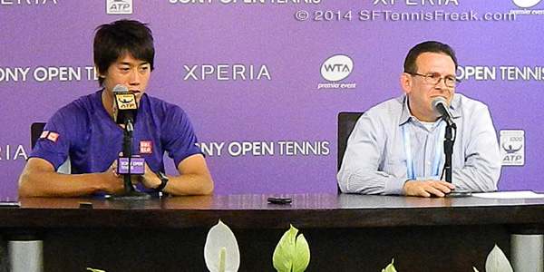Kei Nishikori (L) and Sony Open tournament director, Adam Barrett.