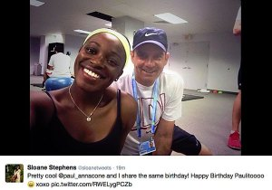 Sloane coach Paul Annacone from her Twitter account.