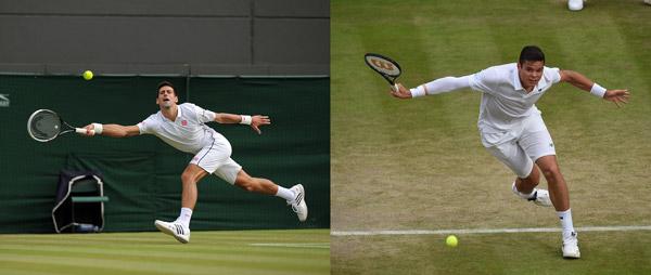 Novak Djokovic and Milos Raonic (Jon Buckle/AELTC)