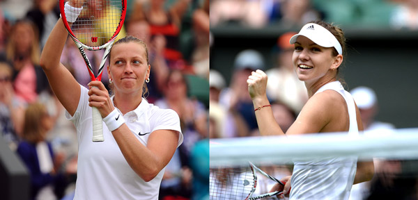 Petra Kvitova and Simona Halep (Javier Garcia/Tom Lovelock/AELTC)
