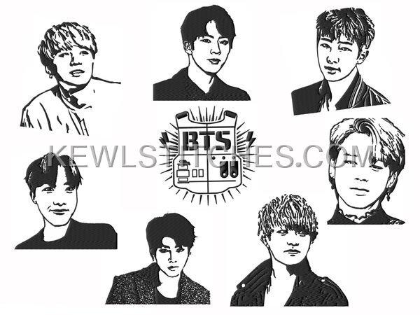 BTS Bangtan Boy Band Embroidery Designs