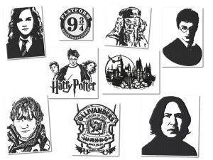 Harry Potter Blackwork Embroidery Designs