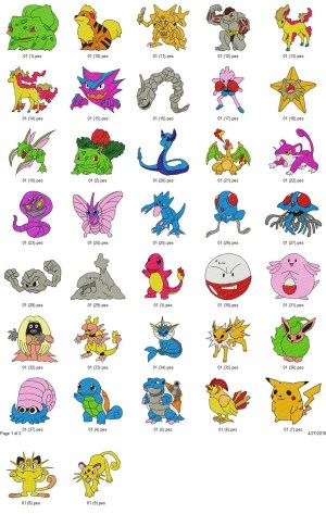 Pokemon Embroidery Designs Set