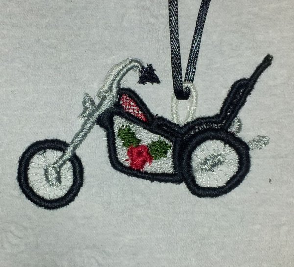 FSL Harley Motorcycle Christmas Ornament Embroidery Design