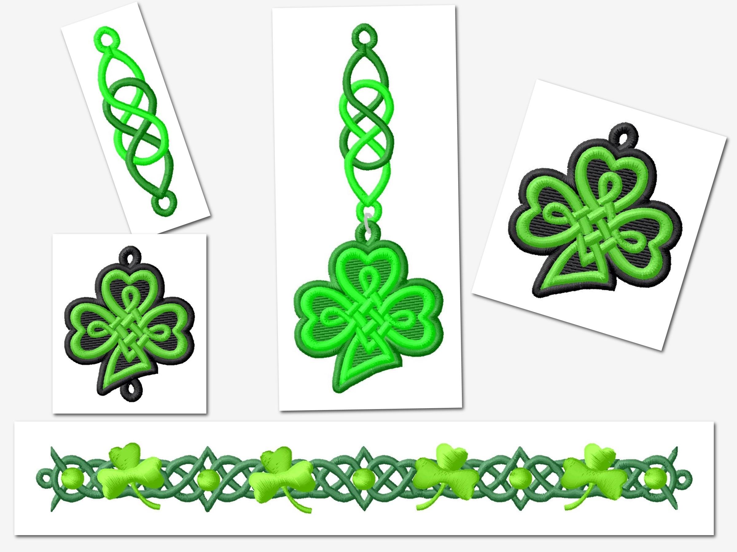 FSL Lace Celtic Pendant/ Earing/ Bracelet St. Pat Embroidery Set