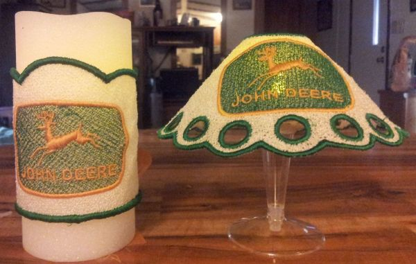 John Deere FSL Wine Glass lamp Shade and Candle Wrap Set