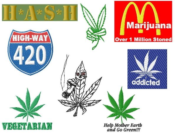 Funny Pot (Marijuana) Embroidery Designs Set