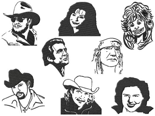 Famous People Country Music Star Embroidery Designs2